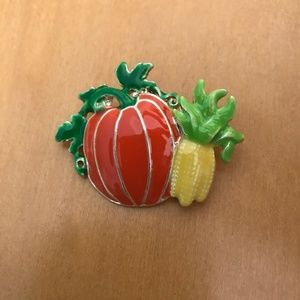 Jewelry - Cornstalks Pumpkin Pendant Pin Thanksgiving New